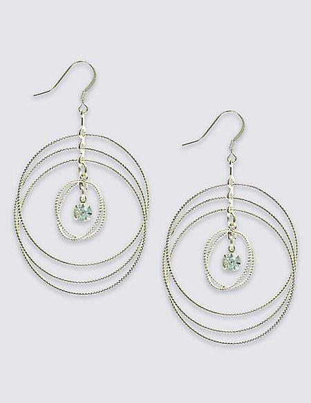 Stone Loop Drop Earrings