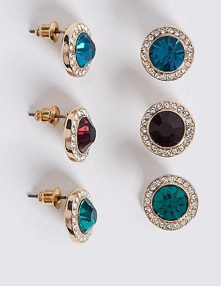 Triple Pack Gem Stud Earrings Set