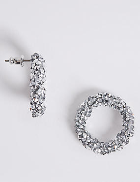 Crystal Rocks Hoop Earrings