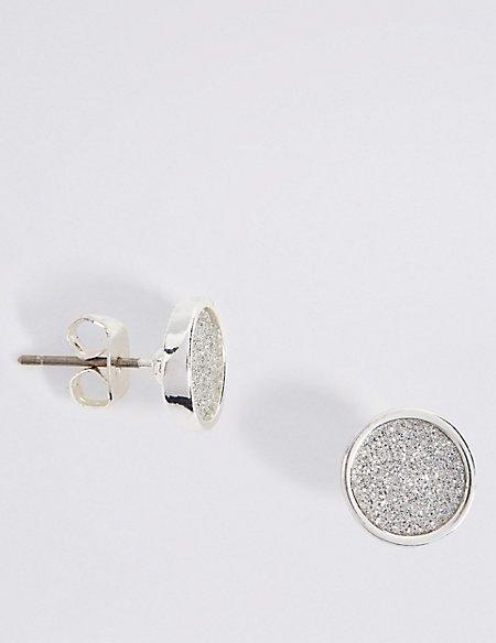 Glitter Circle Stud Earrings