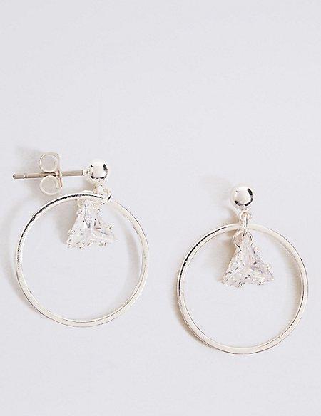 Silver Plated Triangle Hoop Earrings