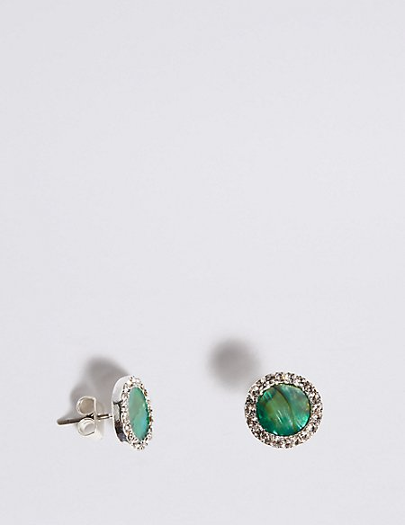 Silver Plated Abalone Shell Stud Earrings