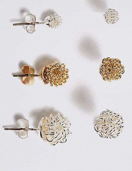 Silver Plated Knotted Stud Earrings Set