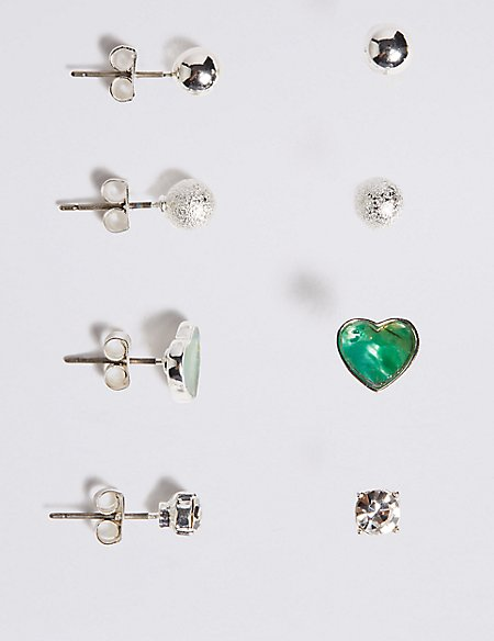 Silver Plated Abalone Stud Earrings Set