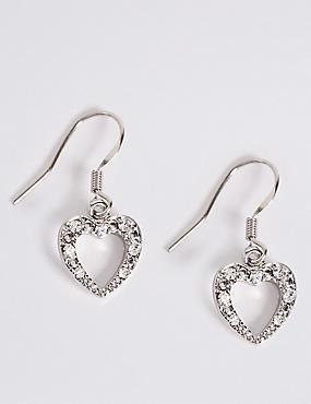 Diamanté Sparkle Heart Drop Earrings