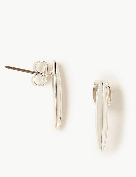 Silver Plated Bar Stud Earrings
