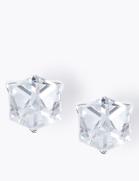 Silver Plated Cube Stud Earrings