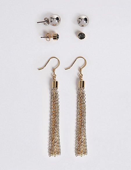Chain Tassel Drop & Stud Earrings Set