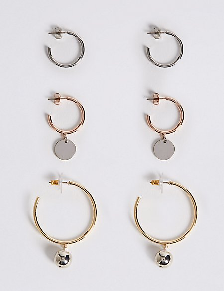 Multi Charm Hoop Earring Set