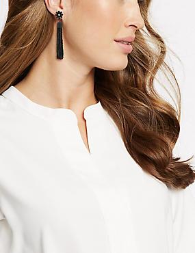 Beaded Tassel Drop Earrings