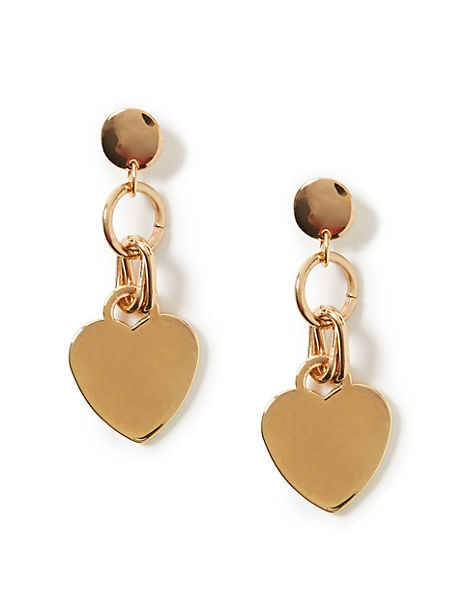 Metal Heart Drop Earrings
