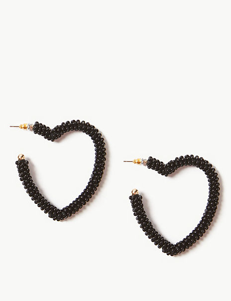 Beaded Heart Hoop Earrings