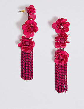 Triple Flower Shower Drop Earrings