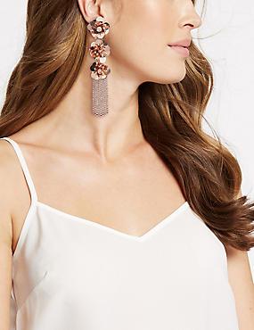 Triple Flower Shower Drop Earrings