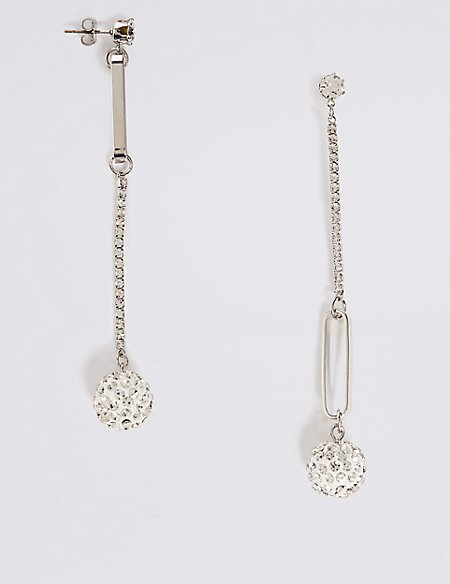 Mismatch Pave Balls Drop Earrings