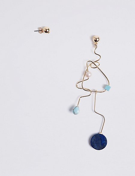 Pendulum Disc Mismatch Earrings