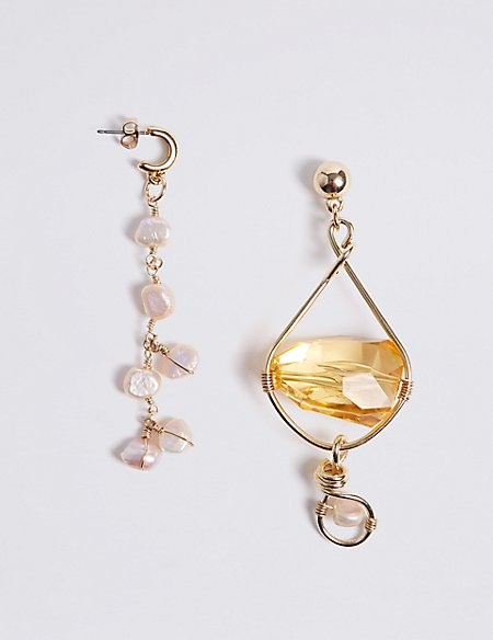 Floating Gems Pearl Mismatch Earrings