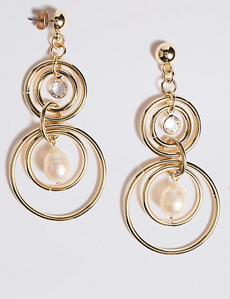 Double Circle Pearl Drop Earrings
