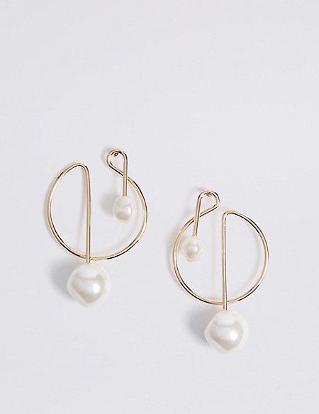 Pearl End Caps Hoop Earrings