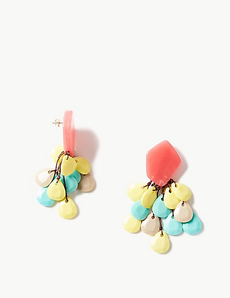 Netted Bead Drop Earrings