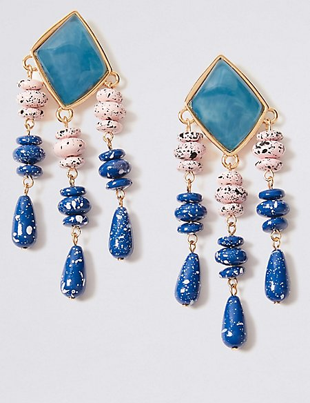 Splatted Bead Drop Earrings