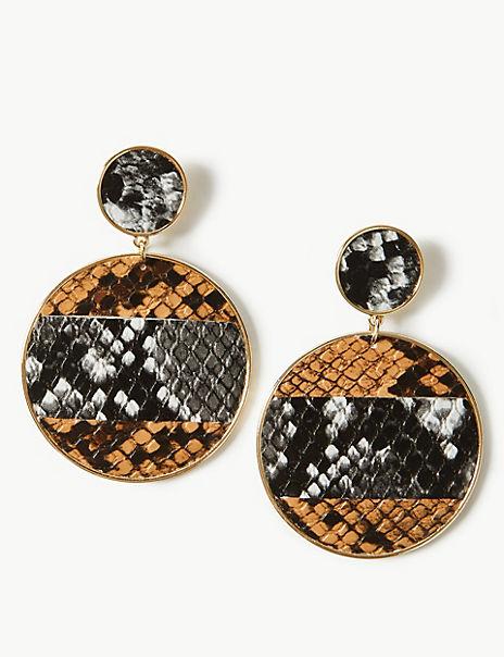 Snake Print Drop Earrings