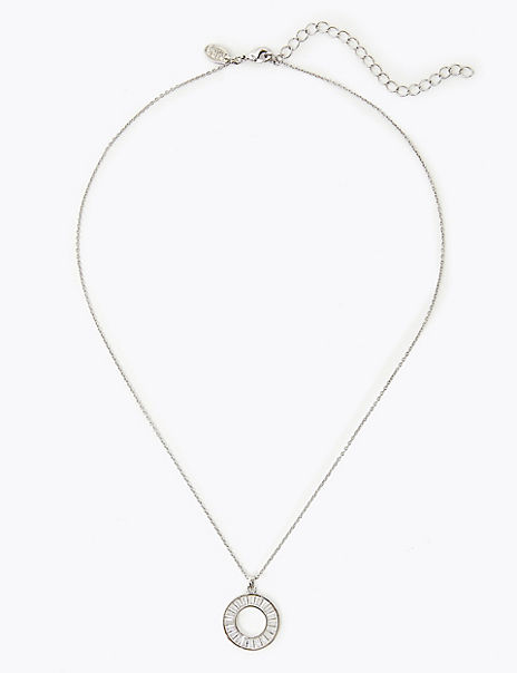 Platinum Plated Baguette Necklace