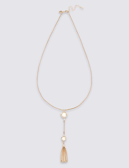 Gold Plated Circle Tassel Necklace