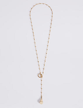 Gold Plated Ball Chain Drop Necklace