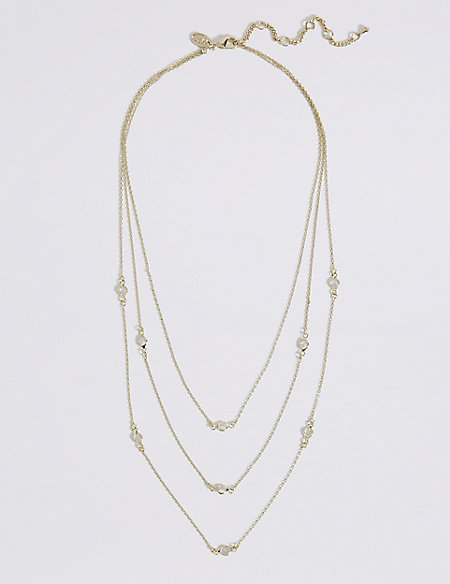 Gold Plated Triple Layered Necklace