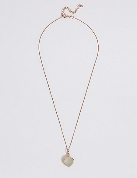 Sterling Silver Square Moonstone Necklace