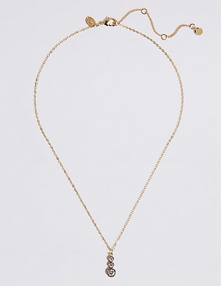Gold Plated Triple Stone Necklace