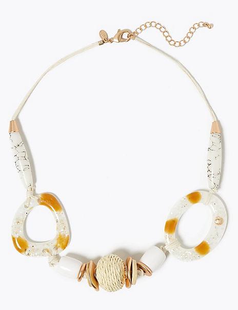 Raffia Ball Multi Shell Necklace