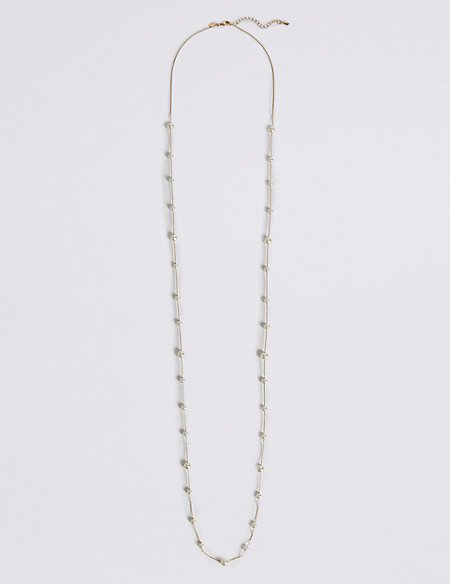 Pave Station Pearl Necklace