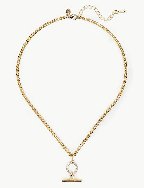 Gold Plated T-Bar Necklace