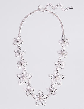 Pearl Effect Flower Necklace