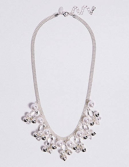 Cluster Pearl Effect Necklace