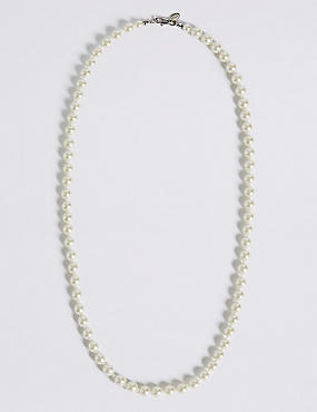 Marks and Spencer Cube & Pearl Effect Long Rope Necklace navy mix Eh73zjsd9z