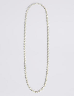 Pearl Effect Long Rope Necklace