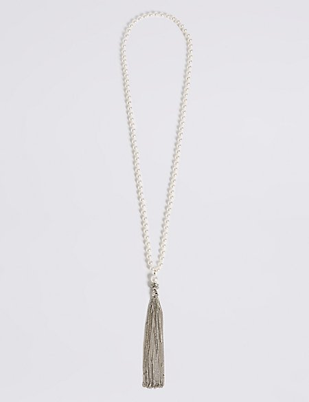 Decadent Pearl Effect Tassel Necklace