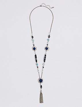 Multi-Faceted Assorted Bead Tassel Necklace