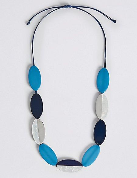 Flat Oval Stripe Cord Necklace