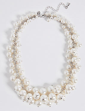 Pearl Effect Cluster Necklace