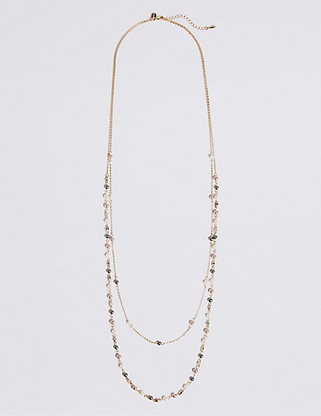 Pearl Effect Double Row Necklace