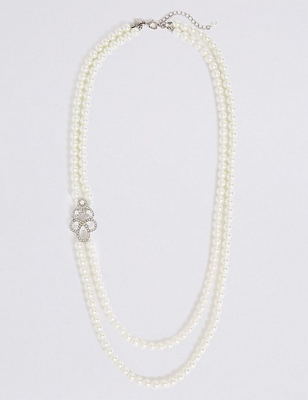 Pearl Effect Double Row Brooch Necklace
