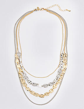 Dented Shapes Layered Necklace