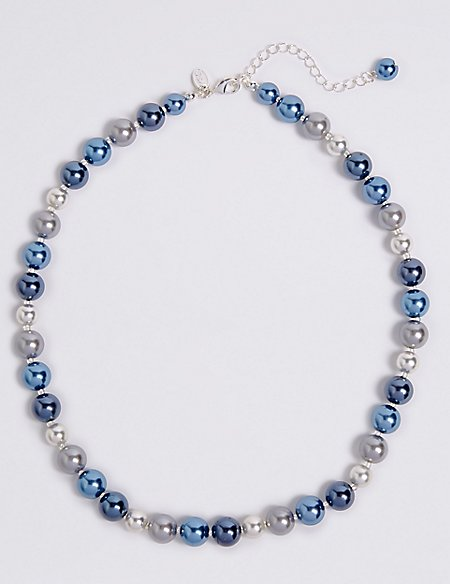 Pearl Effect Row Necklace