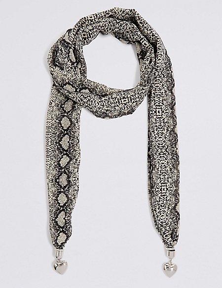Snake Print Scarf Necklace