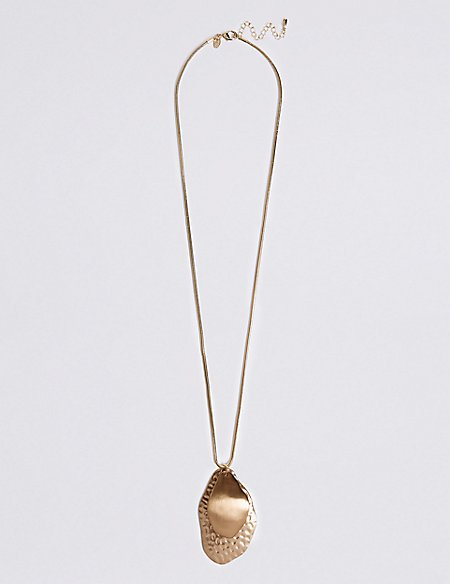Metal Petal Long Necklace