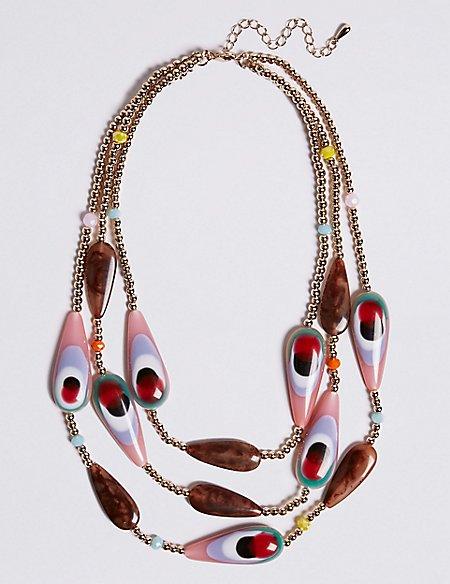 Mix Up Bead Three Row Necklace